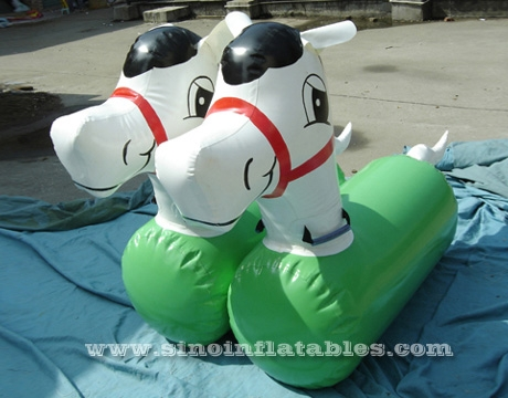 3 lanes kids inflatable pony race track