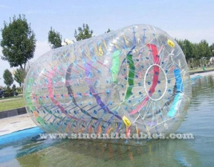 rouleau long zorb gonflable transparent avec rubans colorés