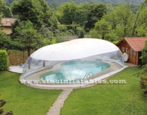 dôme de piscine gonflable transparent
