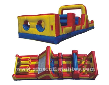 long commercial kids inflatable obstacle course