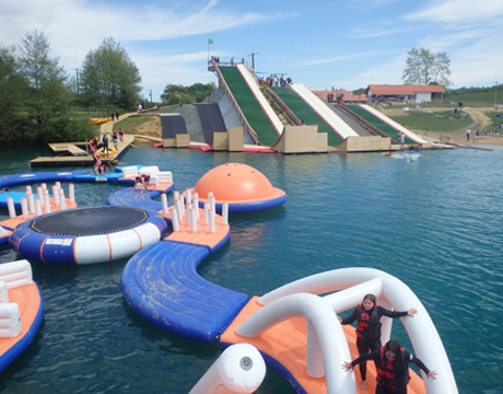 giant inflatable water obstacle course
