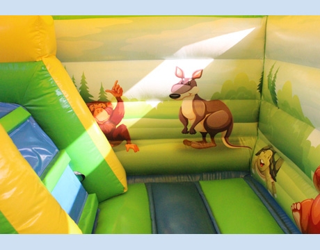 kids forest king inflatable bouncy castle with slide