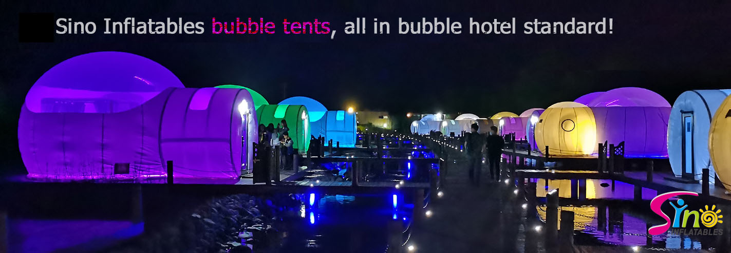 5m dome clear top inflatable lodge bubble hotel with steel frame tunnel for resort glamping from Sino Inflatables